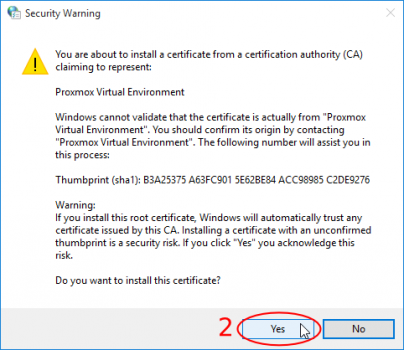 Import certificate in browser - Proxmox VE